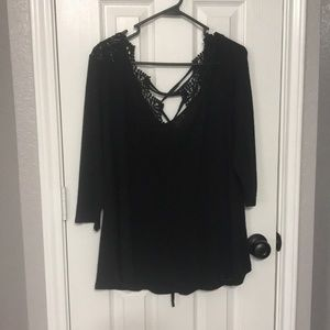 EUC Black Jessica Simpson 1x crochet sheer top